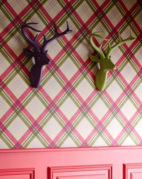 Papel de parede Arristo Mate Xadrez Verde oliva claro Vermelho framboesa Violeta brilhante