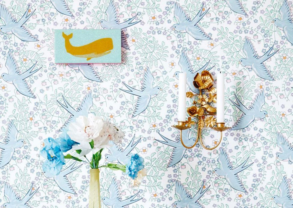 Archiv Wallpaper Marianella pastel blue Room View
