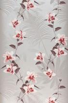 Papel pintado Josette Mate Flores zarcillos Hojas de palma Aluminio blanco Gris claro  Rojo rubí Marrón chocolate Blanco