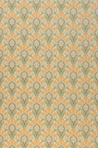 Wallpaper Florence Hand printed look Matt Art nouveau damask Stylised flowers Cream Fern green Khaki grey Maize yellow