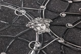 Carta da parati Nara Opaco Ornamenti floreali Disegni arrotondati Ornamento a medusa Grigio scuro Grigio scuro perlato Nero  Alluminio bianco