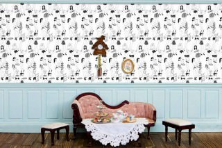 Wallpaper Time for Tea Matt Waitresses White Black