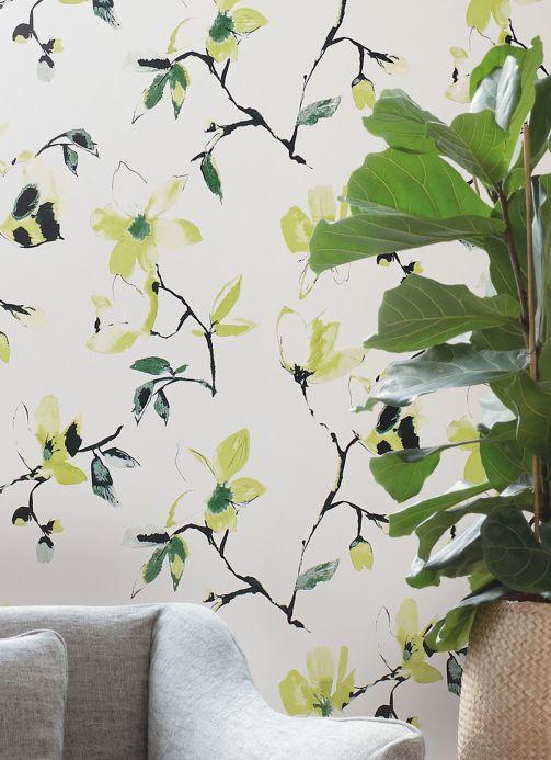 Papel de parede floral Papel de parede Delara amarelo esverdeado Ver quarto