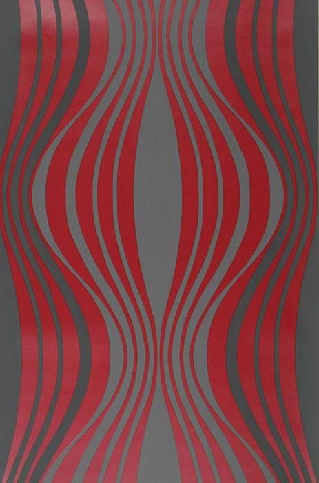 Papel pintado Titania Patrón brillante Superficie base mate Olas gráficas Gris Rojo