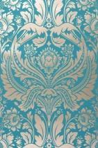 Wallpaper Manus Shiny pattern Matt base surface Floral damask Turquoise Gold