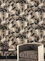 Papier peint Genevieve Mat Feuilles Éléments graphiques Fleurs stylisées Beige gris Blanc crème brillant Tons de gris Noir