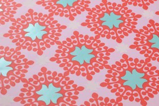 Wallpaper Hadit Matt Small ornaments Rose Pastel turquoise lustre Red