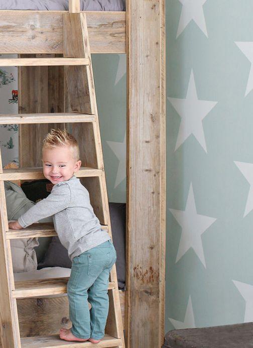 Papel pintado infantil Papel pintado Stars verde menta pálido Ver habitación