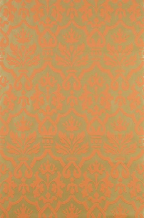 Wallpaper Krishna Matt pattern Shiny base surface Baroque damask Gold lustre Orange