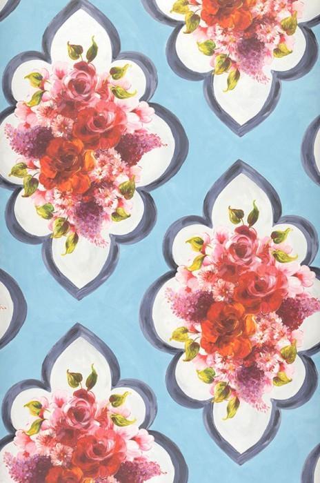 Wallpaper Malona Matt Flower bouquets Floral damask Pastel light blue Cream shimmer Dark grey blue Green Lavender Red