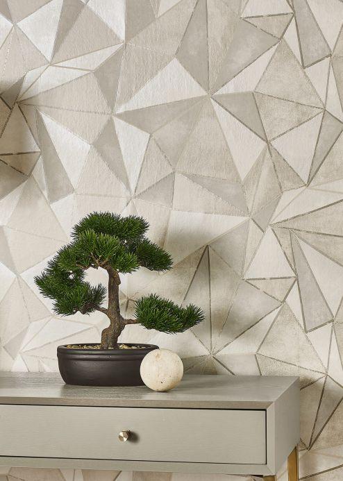 Papel pintado geométrico Papel pintado Mirage beige grisáceo brillante Ver habitación