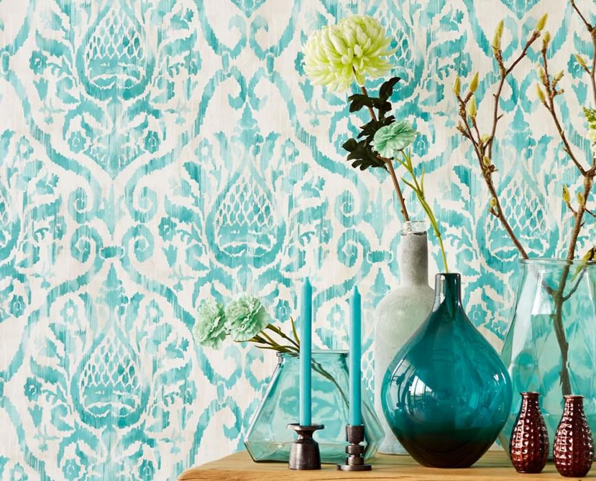 Wallpaper Esiko Matt Floral damask Cream Light grey beige Pastel turquoise Turquoise blue Water blue