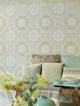 Wallpaper Riverana Shimmering Large stylised blossoms Pale green shimmer Grey olive Olive grey glitter White Glitter