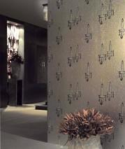Wallpaper Ashera Hologram effect Candles on water droplets White gold lustre Black