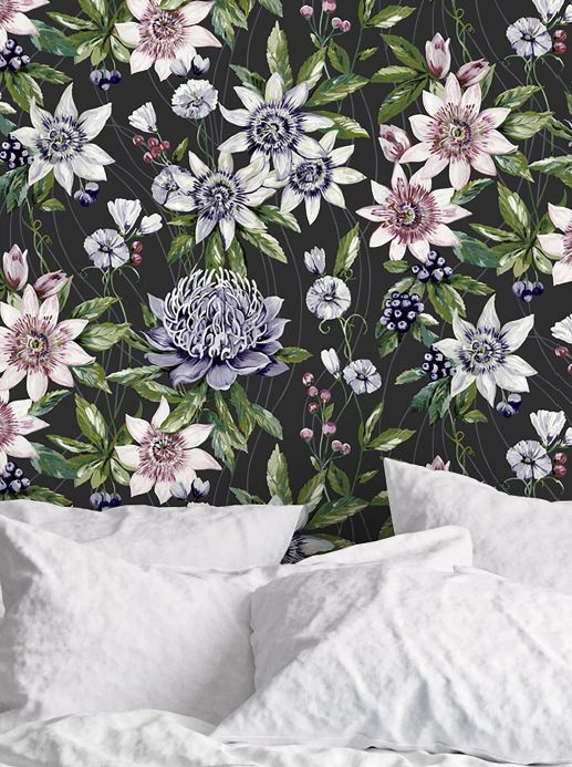 Floral Wallpaper Wallpaper Zagora black Room View