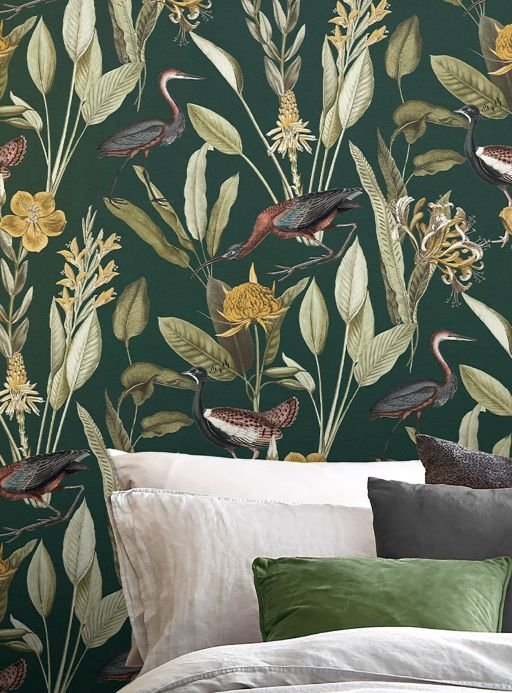 Wallpaper patterns Wallpaper Medina dark green Room View
