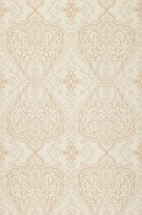 Wallpaper Rosmerta Fine linen look Matt Oriental damask Light ivory Pale light brown