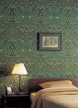 Wallpaper Sharon Hand printed look Matt Leaves Flowers Tendrils Black green Shades of green Light yellow Pastel blue Red