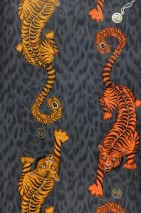 Wallpaper Donas Matt Pocket Watches Tigers Words Anthracite Maize yellow Orange Pearl beige Black