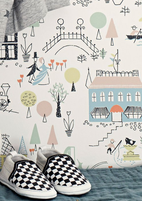 Wallpaper Timetie Hand printed look Matt Trees Buildings People White Green beige Orange red Pastel blue Pastel green Black