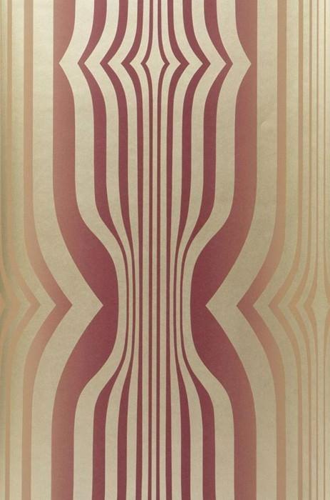 Wallpaper Mandulis Shimmering pattern Matt base surface Retro elements Ivory Red violet Gold