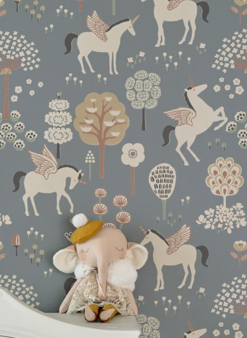 Papel de parede infantil Papel de parede True Unicorns cinza escuro Ver quarto