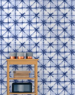 Papier peint Esolan bleu foncé Vue pièce