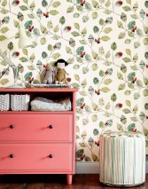 Wallpaper Jacky Matt Ladybird Branches with leaves Cream Grey beige Shades of green Crimson red