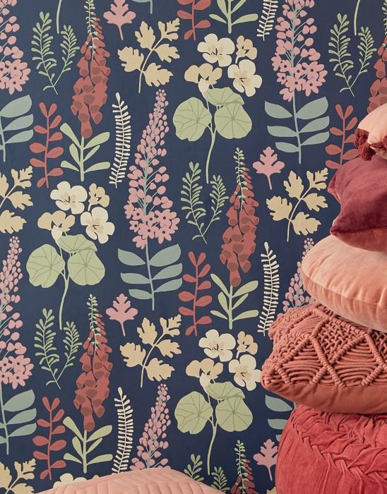 Papel de parede Luzie Mate Folhas Flores Azul escuro Verde pálido Marfim Rosa claro Marrom avermelhado
