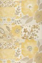 Wallpaper Farina Matt Flowers Pale sand yellow Cream Grey white Beige Grey beige Sand yellow Silver