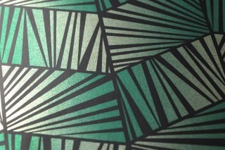 Wallpaper Gimog Shimmering Art Deco Geometrical elements Gold lustre Black Emerald green lustre