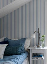 Wallpaper Valerian Matt Stripes White Blue grey Light grey blue