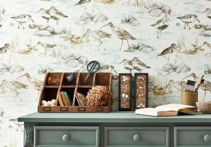 Wallpaper Arielle Matt Stars Birds Waves Cream Beige grey Grey Mint turquoise Olive yellow