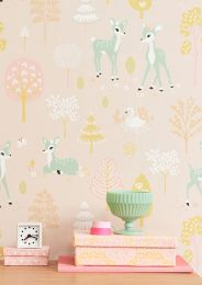Papel pintado Golden woods rosa pálido