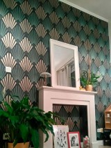Wallpaper Pontinius Matt Art Deco Modern damask Anthracite Pearl beige Black Pastel green