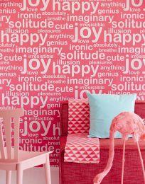 Papel de parede Beyla vermelho framboesa brilhante