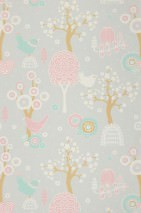 Wallpaper Körsbärsdalen Hand printed look Matt Trees Blossoms Birds Light grey Antique pink Light brown beige Light pastel turquoise White