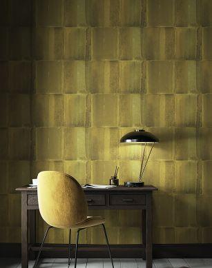 Papel pintado Runar amarillo oliva Ver habitación