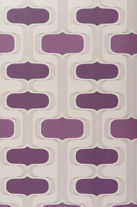 Wallpaper Sankus Matt Retro ornaments Light ivory Violet White gold