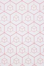 Wallpaper Honell Matt Hexagons Cubes White Rosé shimmer White shimmer