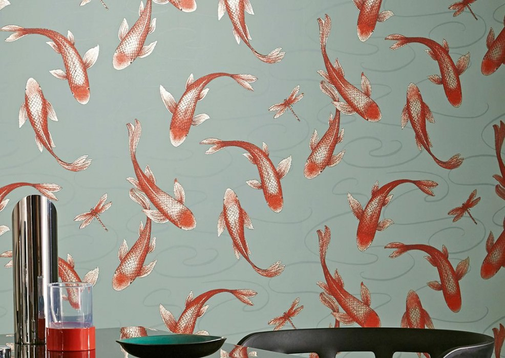 Wallpaper Drusilla Shimmering pattern Matt base surface Fishes Dragonflies Pale turquoise Mint turquoise Red-orange glitter