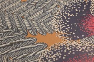 Wallpaper Tambika Hand printed look Matt Leaves Blossoms Ochre  Anthracite grey Cream Strawberry red Black