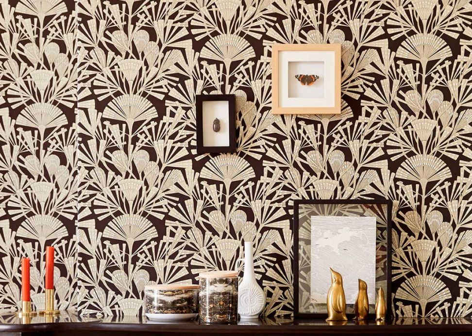 Papier peint floral Papier peint Tiberia beige nacré Vue pièce