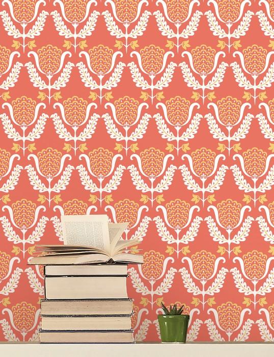 Wallpaper Zarina Hand printed look Matt Art nouveau Stylised flowers Salmon red Light yellow White