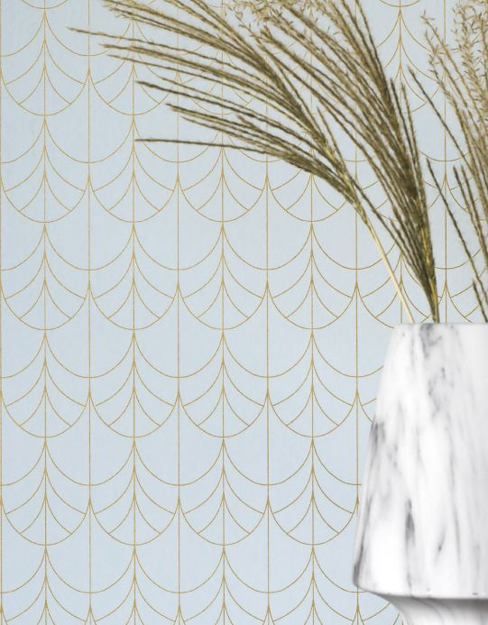 Art Deco Wallpaper Wallpaper Ninon pale blue Room View