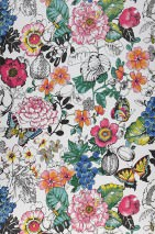 Wallpaper Ilaria Matt Leaves Blossoms Fruits Butterflies White Blue Yellow Rose Black glitter Turquoise