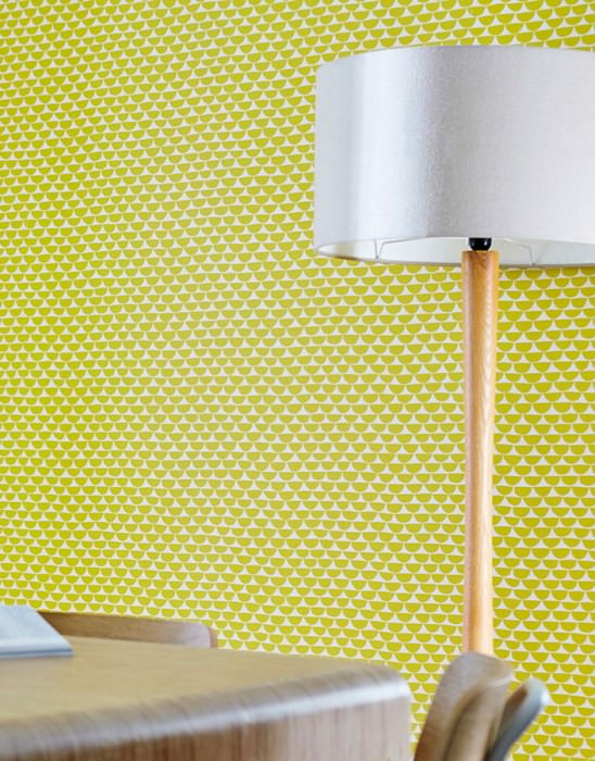 Wallpaper Darja Matt Graphic elements Cream Yellow green