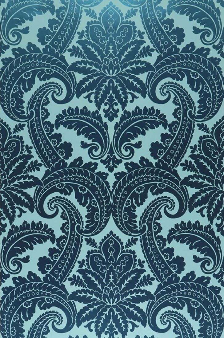 Papier Peint Nemesis Turquoise Pastel Vert Emeraude Lustre