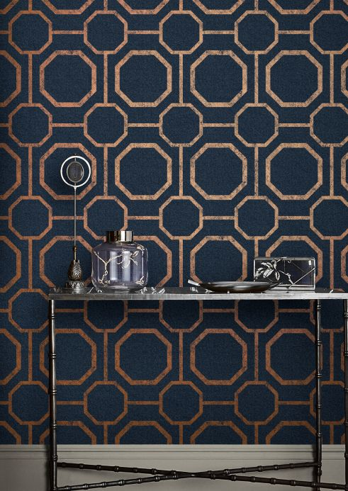 Classic Wallpaper Wallpaper Kalea dark blue Room View