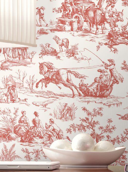 Papel pintado clásico Papel pintado Toile de Jouy rojo Ver habitación